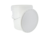 ROUND BUCKET WITH LID | Round bucket with carrying handle and lid, made from white polypropylene. Available in various sizes.