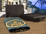TRAVEL PRAYER KIT  (LEATHER) | Prayer mat in leather folder bag with engraved logo, all submitted into a elegant packaging: black box with cover and white gift bag with silver hot stamping customization.
