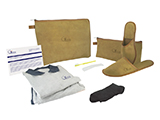 GÉNÉRALE DE SANTÉ CHECK-UP KIT (LEATHER) | Personalised leather washbag with polo shirt and sweatpants, toothbrush with integrated toothpaste, shoehorn, socks, slippers in a personalised sealed case and instruction card.