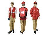 ALGERIAN RED CROSS VOLUNTEER KIT (MANNEQUIN) | Example of a volunteer equipped with a personalised volunteer kit: trousers, reflective jacket, reinforced footwear, helmet, goggles, windcheater, gloves…