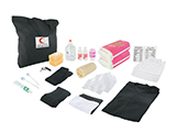 JORDAN RED CRESCENT EMERGENCY KIT FOR WOMEN | Personalised fabric bag with items suitable for Muslim women: soap, gel/shampoo, body lotion, deodorant, toothbrushes and toothpaste, luffa, sanitary towels, underwear, tights, leggings, hijab, abaya, whistle and content list.