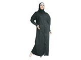 EMERGENCY KIT FOR WOMEN (MANNEQUIN) | Set of long black robe (abaya), white ribbon and black scarf (hijab) used by Muslim women. Included in the emergency kit for women and the dignity kits.