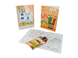 RAMSAY SANTÉ CHILD ACTIVITY KIT | 12-page book with pictures and child activities, presented in a personalised bag with 8 crayons in a case.
