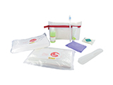 2D HYGIENE KIT | Personalised PVC washbag with soap, gel/shampoo, toothbrush, toothpaste, comb, sanitary towel, disposable towel and disposable sleeping bag sheet.