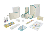 HOSPITEN ADULT HYGIENE KIT (FABRIC) | Personalised fabric washbag containing gel/shampoo, body lotion, tooth-brushing set, comb, bath set, soap with soap holder, nail file, mini funnel, slippers in an open case, welcome card and patient guide.