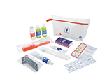 FRENCH RED CROSS MALE HYGIENE & WELLBEING KIT | PVC washbag with gel/shampoo, body lotion, toothbrush and toothpaste, razors, shaving cream, disposable nappies, condoms, brush and information leaflet on hygiene and wellbeing.