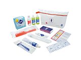FRENCH RED CROSS FEMALE HYGIENE & WELLBEING KIT | PVC washbag with gel/shampoo, body lotion, toothbrush and toothpaste, razors, shaving cream, disposable nappies, condoms, brush, sanitary towels and information leaflet on hygiene and wellbeing.