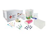 GERMAN RED CROSS FAMILY HYGIENE KIT | Personalised packing case with hygiene items for a family of five: gel/shampoo, soap, toothbrushes and toothpaste, razors, sanitary towels, washing powder, toilet paper and towels.