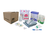 ADULT HYGIENE KIT | Personalised cardboard box with gel/shampoo, soaps, soapbox, toothbrushes and toothpaste, combs, towels, toilet paper, sanitary towels, washing powder, safety pins and clothes line.
