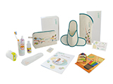 HOSPITEN CHILD HYGIENE KIT (FABRIC) | Personalised fabric washbag with gel/shampoo, soap, comb, dental training kit, colouring book and crayons, child slippers in a personalised open case, welcome card and patient guide.
