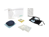 HOSPITEN ADULT LASER EYE SURGERY KIT (PVC) | Personalised PVC washbag with sleep mask, tape, gauze, sterile occluder, polarised sunglasses and information card.
