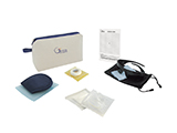 GÉNÉRALE DE SANTÉ ADULT LASER EYE SURGERY KIT (FABRIC) | Personalised fabric washbag with sleep mask, tape, gauze, sterile occluder, polarised sunglasses and information card.