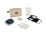 CAPIO ADULT LASER EYE SURGERY KIT (LEATHERETTE) | Personalised leatherette washbag with sleep mask, tape, gauze, sterile occluder, polarised sunglasses and information card.