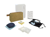 HOSPITEN ADULT LASER EYE SURGERY KIT (LEATHER) | Personalised leather washbag with sleep mask, tape, gauze, sterile occluder, polarised sunglasses and information card.