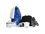 MARITIME RESCUE KIT | Duffel bag style rucksack for persons who are rescued at sea. Contains a washbag with hygiene products, underwear, t-shirt, fleece, sandals and towel.