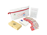 JUNTA DE ANDALUCIA SEXUAL EDUCATION KIT | Personalised PVC washbag with demonstration base, packet of tissues, male condoms and instruction sheet explaining correct condom use.
