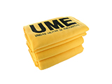 EMERGENCY MILITARY UNIT FLEECE BLANKET | Yellow acrylic blanket with black embroidered logo, produced for the Emergency Military Unit.