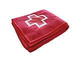 EMERGENCY BLANKET | Red acrylic blanket with border and embroidered logo on both sides provides assistance teams with excellent visibility.
