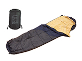 MUMMY-STYLE SLEEPING BAG | Mummy-style sleeping bag with 100% cotton lining and polyester ripstop outer, providing warmth and insulation for the user.